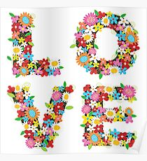 LOVE Spring Flowers | Red Poster