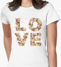 LOVE Spring Flowers | Pink Womens Fitted T-Shirt
