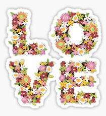 LOVE Spring Flowers in Pink Sticker