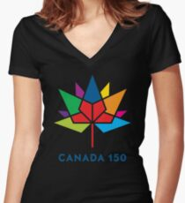 CANADA 150th Women's Fitted V-Neck T-Shirt