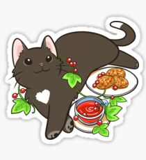 Redcurrant Tea Black Cat Sticker