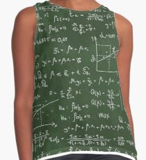 School geek  blackboard pattern with different mathematical formulas and values. Contrast Tank