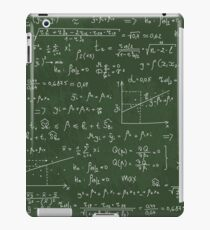 School geek  blackboard pattern with different mathematical formulas and values. iPad Case/Skin