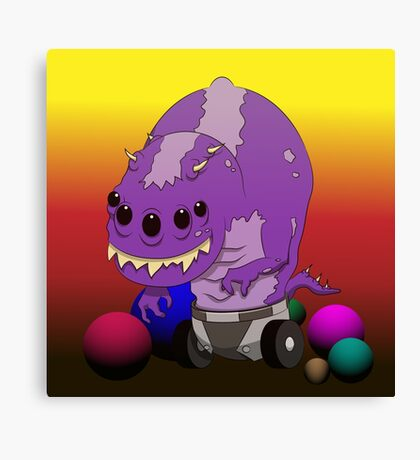 Monster play with a ball Canvas Print