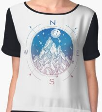 Wanderlust Tattoo of Hand Drawn Mountain Wind Compass Women's Chiffon Top