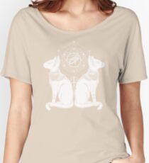 Cat Mandala - Egyptian Sphinx Horus Tattoo -  Symbol of Goddess Bastet Women's Relaxed Fit T-Shirt