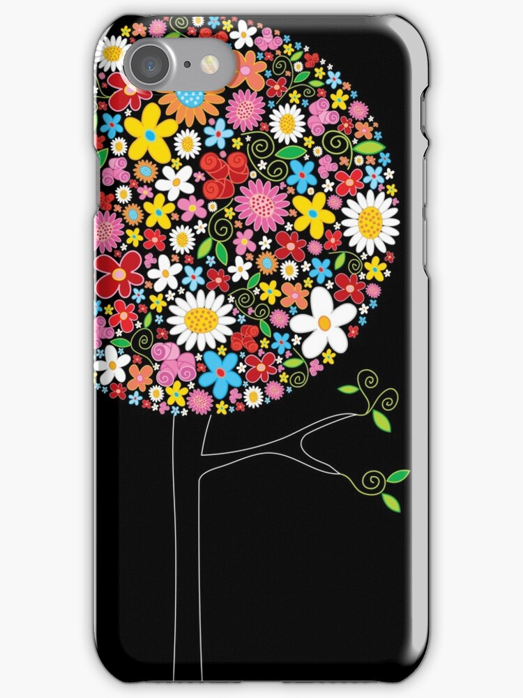 Whimsical Colorful Spring Flowers Pop Trees by fatfatin