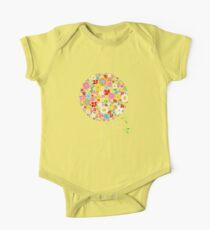 Whimsical Colorful Spring Flowers Pop Tree One Piece - Short Sleeve