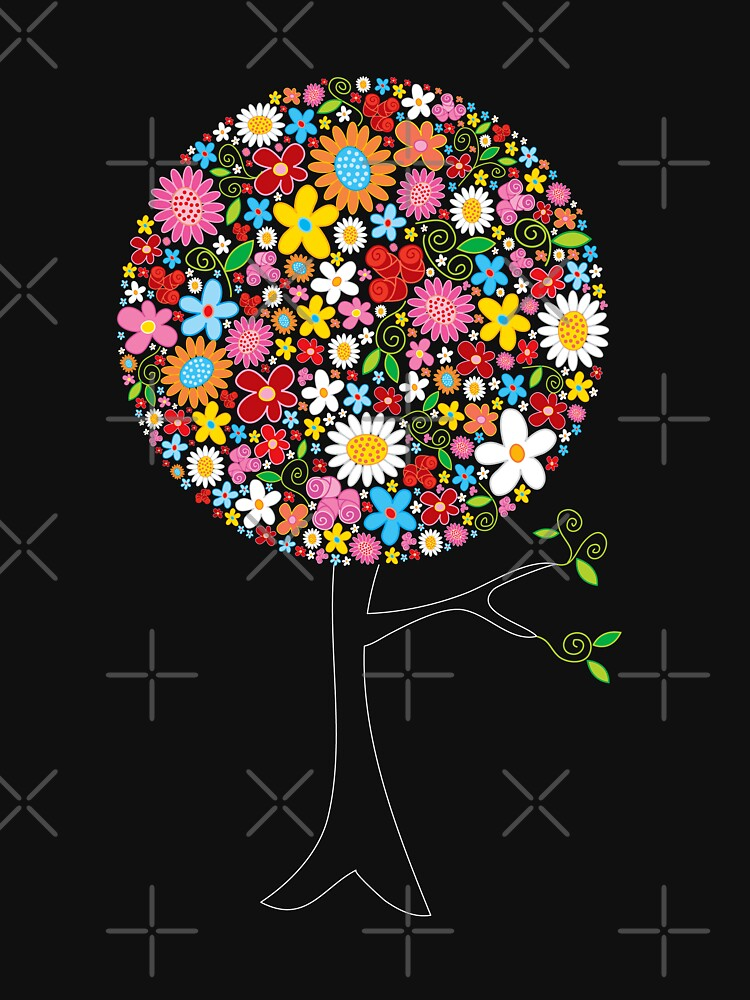 Whimsical Colorful Spring Flowers Pop Tree | Unisex T-Shirt