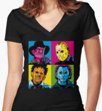 POP HORROR Women's Fitted V-Neck T-Shirt