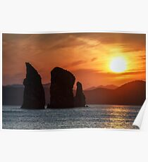 Beautiful Kamchatka seascape - Three Brothers Rocks in Pacific Ocean at sunset Poster