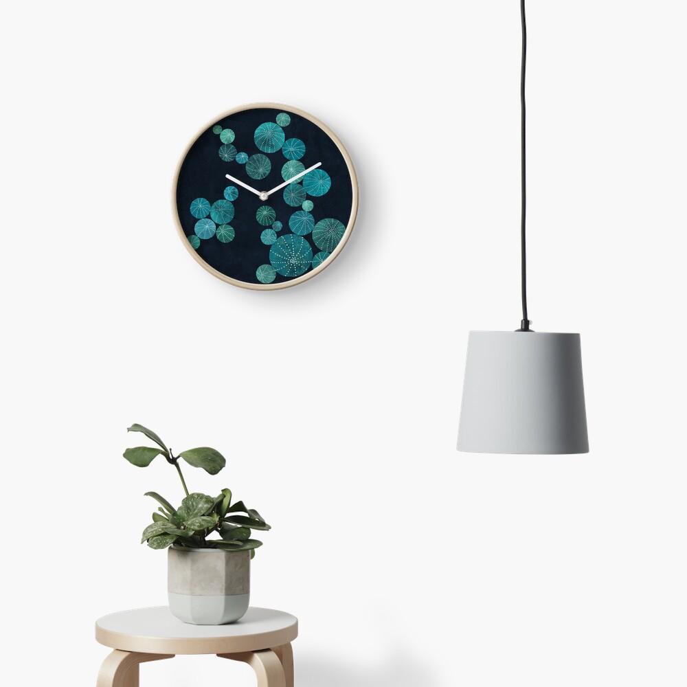 Turquoise cactus field Clock