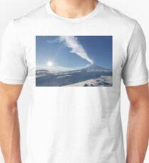 Eruption Klyuchevskoy Volcano - winter view of active volcano in Kamchatka Peninsula Unisex T-Shirt