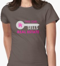 This Girl Sells Real Estate Funny Realtor Agent  Womens Fitted T-Shirt
