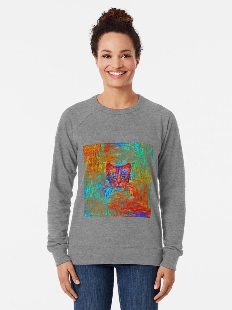 Alternate view of Ninja cat hiding in Modern #Art Lightweight Sweatshirt