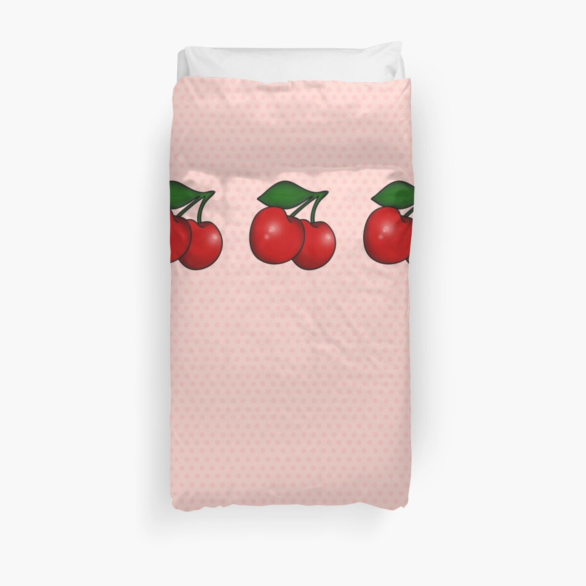 Polka dots and Pair of Cherries in Candy Pink by Tee Brain Creative