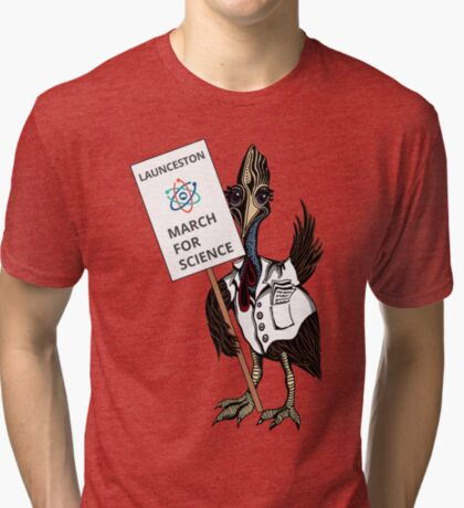 March for Science Launceston – Cassowary, full color Tri-blend T-Shirt