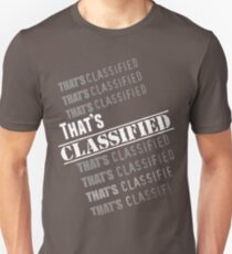 """""""That's Classified"""" - Eugene Porter (White Text) T-Shirt"""
