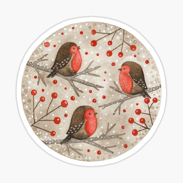 Robins and red berries Sticker