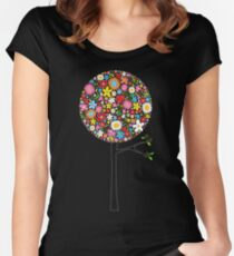 Whimsical Colorful Spring Flowers Pop Trees Women's Fitted Scoop T-Shirt