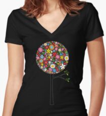 Whimsical Colorful Spring Flowers Pop Trees Women's Fitted V-Neck T-Shirt