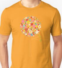 Whimsical Colorful Spring Flowers Pop Trees Unisex T-Shirt