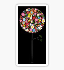 Whimsical Colorful Spring Flowers Pop Trees Sticker