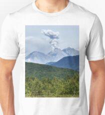 Beautiful summer volcanic landscape of Kamchatka - eruption active Zhupanovsky Volcano Unisex T-Shirt