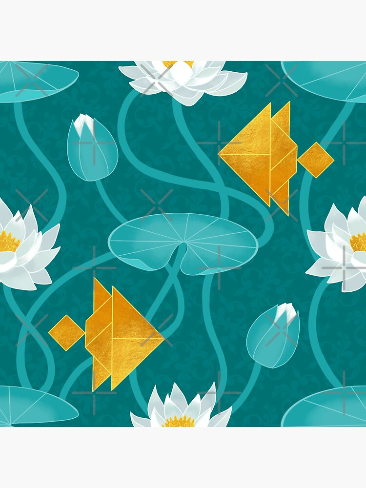 Tangram goldfish and water lilies by Elenanaylor