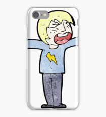 cartoon angry blond boy iPhone Case/Skin