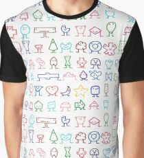 Colorful Painted Geometric Face Funny Pattern Graphic T-Shirt