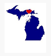 Michigan with Heart Location Photographic Print