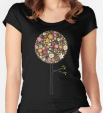 Whimsical Pink Pop Tree with Colorful Spring Flowers Women's Fitted Scoop T-Shirt