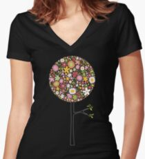 Whimsical Pink Pop Tree with Colorful Spring Flowers Women's Fitted V-Neck T-Shirt