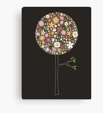 Whimsical Pink Pop Tree with Colorful Spring Flowers Canvas Print