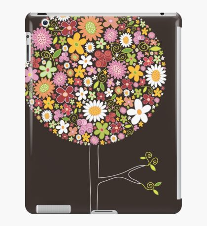 Whimsical Pink Pop Tree with Colorful Spring Flowers iPad Case/Skin