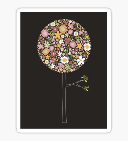 Whimsical Pink Pop Tree with Colorful Spring Flowers Sticker