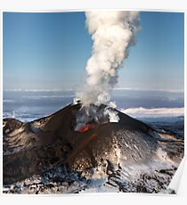 Eruption volcano - effusion from crater lava, gas, steam, ash Poster