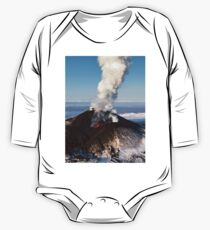 Eruption volcano - effusion from crater lava, gas, steam, ash One Piece - Long Sleeve