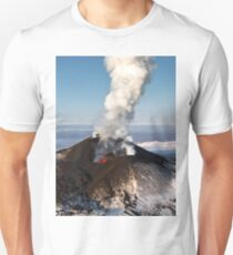 Eruption volcano - effusion from crater lava, gas, steam, ash T-Shirt
