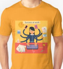Business Superwoman Banner. Woman with Many Hands Doing a Lot of Things at work T-Shirt