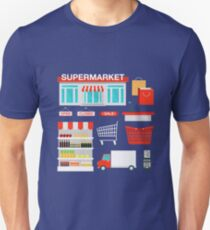 Supermarket Building and Interior with Products, Shopping Basket and Cashbox Unisex T-Shirt