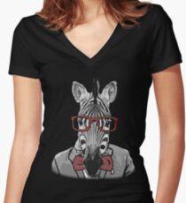 Hipster Zebra Women's Fitted V-Neck T-Shirt
