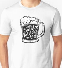 Black Mug with beer and inscription on white background. Calligraphy Happy St. Patrick's day Unisex T-Shirt