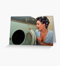 Retro Pin Up - Sparkly Kleen Greeting Card