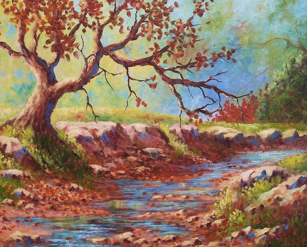 Leaves In The Creek by David Paul