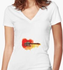 Watercolor guitar Women's Fitted V-Neck T-Shirt