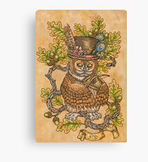 Owl with Psaltery Canvas Print