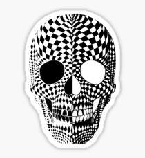 BiPolar Skull Black and White High Contrast Mental Disorder  Sticker