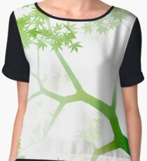 Japanese maple tree in the fog Women's Chiffon Top